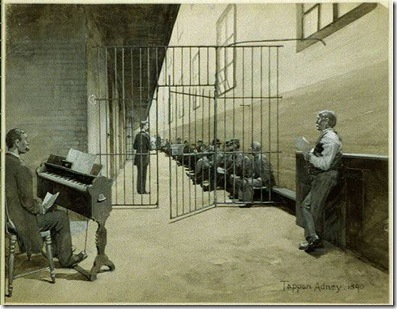 [Prison cell block, man playing organ, prisoners sitting on bench behind gate] / Tappan Adney.  1890.