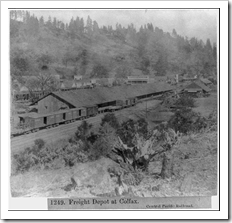 Freight Depot at Colfax.  Pub. 1866.  Library of Congress.